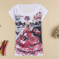 Burn out women tshirt with beading fashion tshirt custom digital printing Lady tshirt
