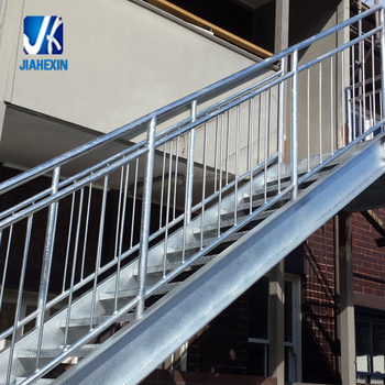 Galvanized Steel Fire Escape Outdoor Metal Stairs With Open Grille Treads