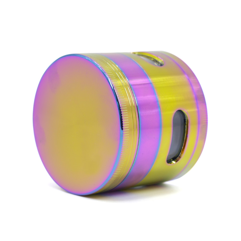 4-piece Rainbow Color Iceblue Zinc Alloy Transparent window on side Herb Grinder 7701-63IB