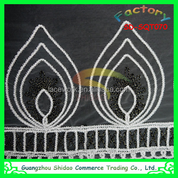 high quality latest GZ organic 3D embroidery silk fabric for curtain and dress wholesale