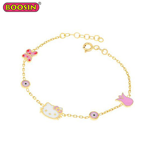 Gold Plated Turkish Girl Cat Evil Eye Charm Bracelet Kids Jewellery #D126