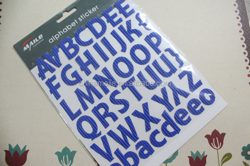 Wholesale adhesive vinyl alphabet stickers plastic alphabet letter stickers