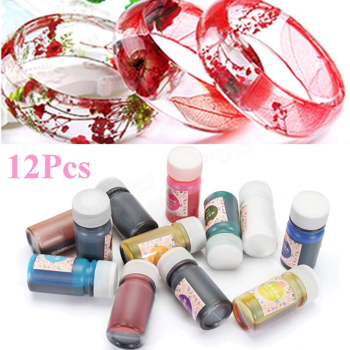 12 Color Epoxy UV Resin Coloring Dye Colorant Resin Pigment Art Crafts Mix Color - 12Pcs (10 Grams)