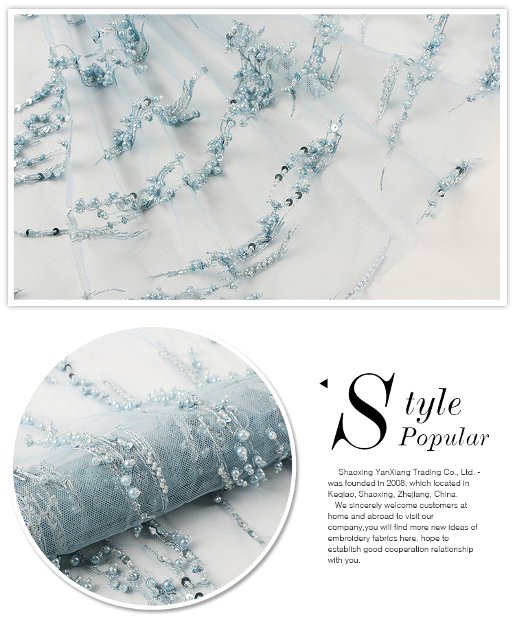 Newest fashion light blue beaded tulle pearl fabric lace for dress making