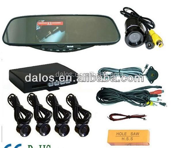 car reverse parking sensors with rearview mirror 4.3inch with mini waterproof butterfly camera and 4 ultrasonic sensor