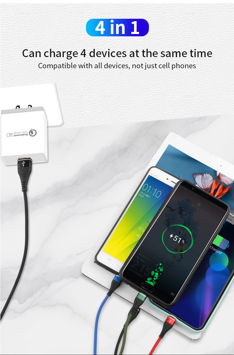 4 in 1 aluminum house nylon cord multi charger c-type usb cable for android iphone type c