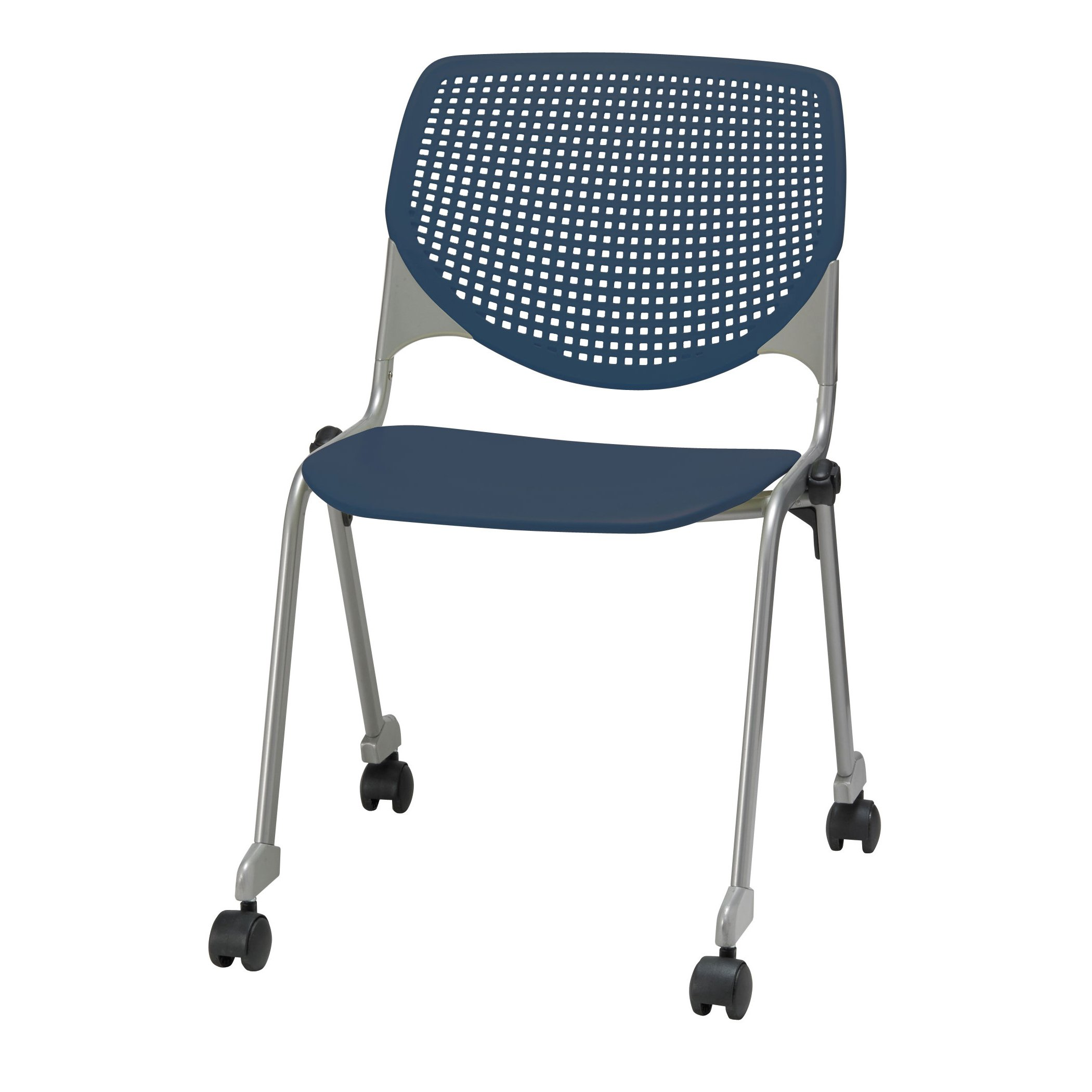 KFI Seating KOOL Series Polypropylene Stack Chair with Perforated Back and Casters, Navy Finish