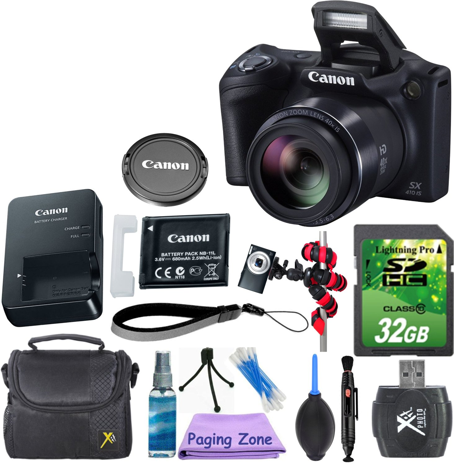 Canon PowerShot SX410 IS (Black) with 32GB Memory Card + Gorillapod Flexible Tripod + Rubber Air Blower Pump Dust Cleaner + Lens Cleaner + Point and Shoot Camera Case + Cleaning Kit