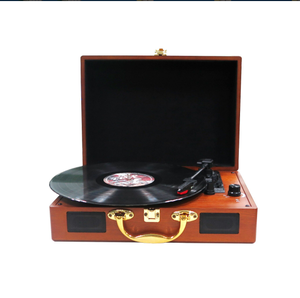 3 SPEED WOODEN TURNTABLE CD RECORD CASSETTE PLAYER WITH DOUBLE CD PLAYER/