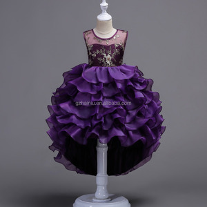 Girls Fancy Kids Lace Dresses Flower Mesh Children Wedding Gowns Formal Prom Vestidos Baby Beautiful Fluffy Frocks for Girl