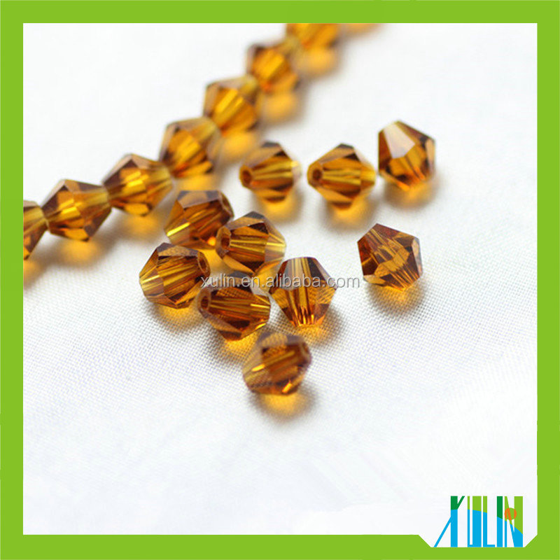 6mm Topaz Faceted Crystal Bicone Beads 5301# African Trade Beads