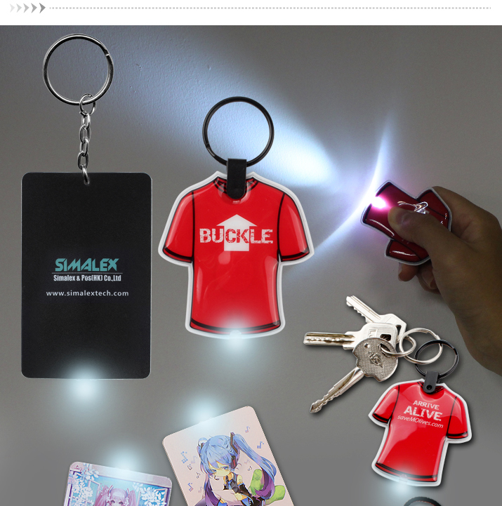 New Product Custom Printed Functional PVC Keyring Torch