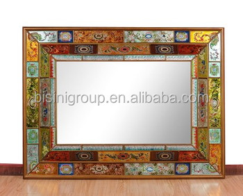 fancy designed colorful painted framed big mirror for home decor