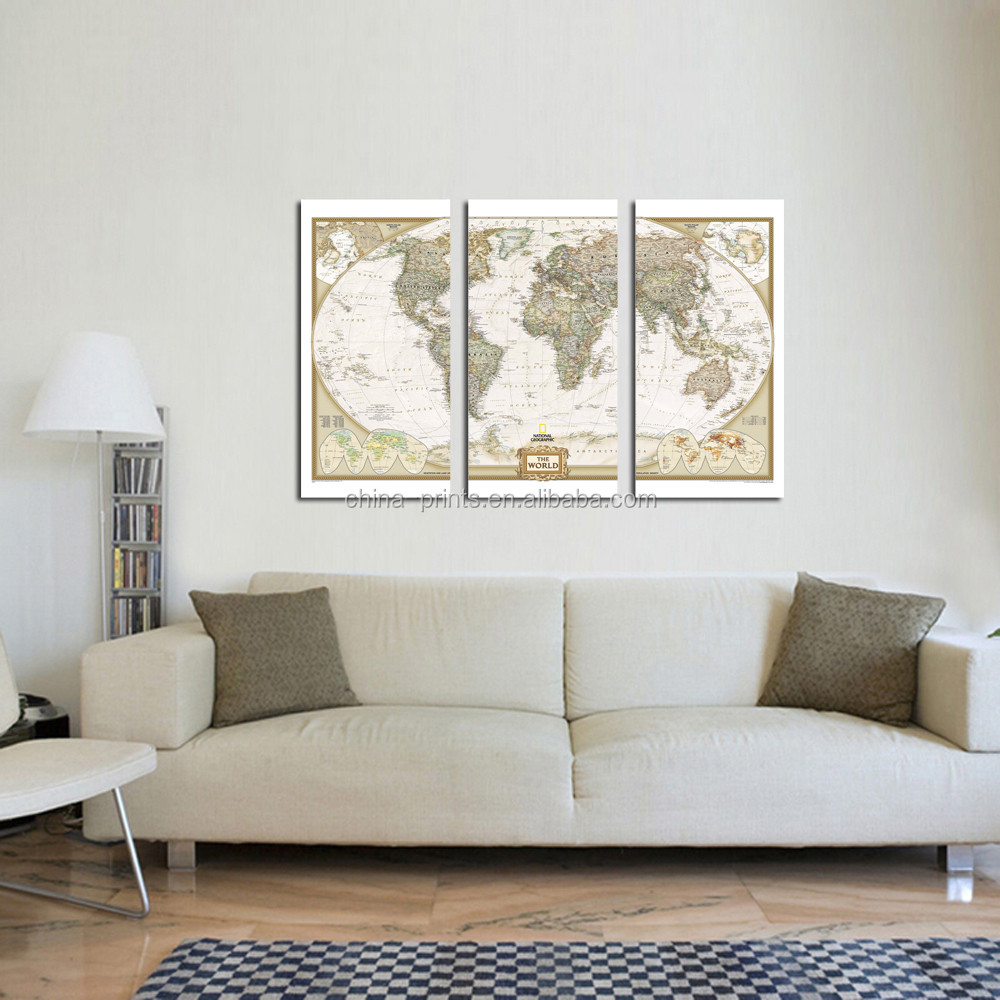 Fashion Modern World Map Canvas Wall Art for Couch Wall Decor Stretched and Framed Ready to Hang