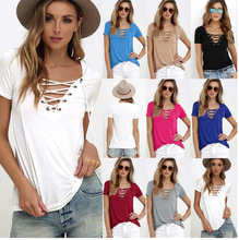 High quality Ebay Amazon Hot 2017 summer new Sheer Sexy Blouses Women Tops shirts Ladies V neck solid color T shirt Plus size