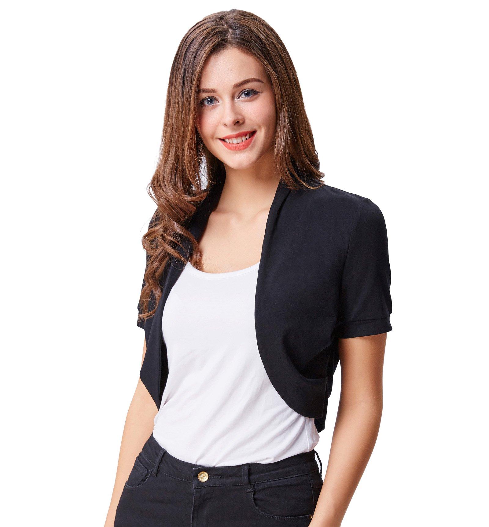 fc5190e37c0 Get Quotations · Belle Poque Women s Short Sleeve Shrug Open Front Cotton Cardigan  Bolero Jacket