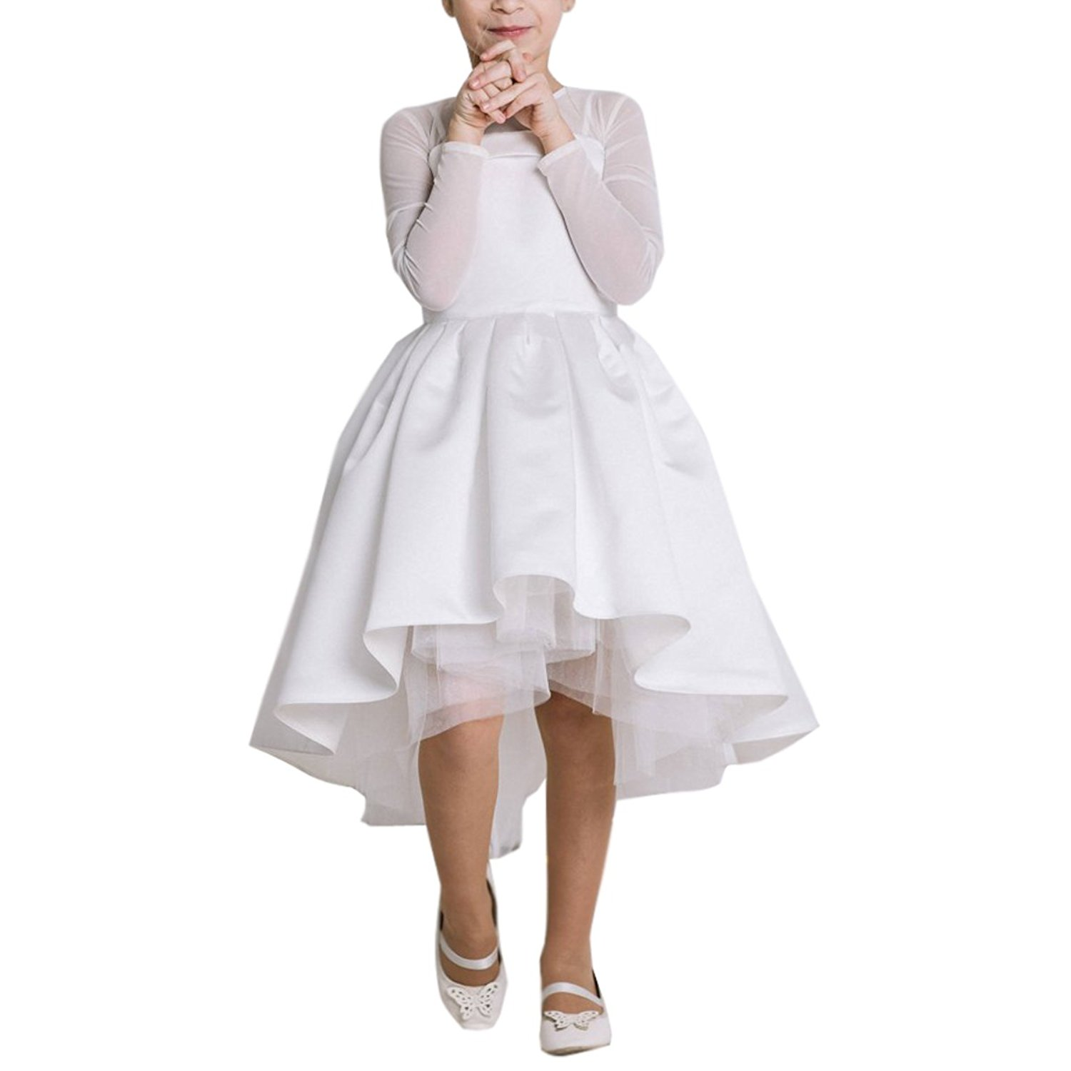 c2c36ae24f Get Quotations · Portsvy 2018 White High-Low Flower Girl Dresses First  Communion Party Dresses