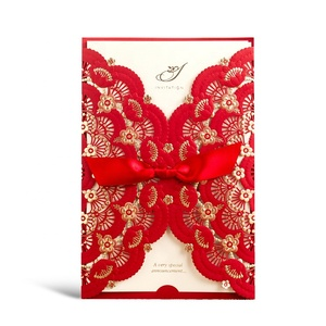 Wishmade Luxury Chinese Red Laser Cut Wedding Invitations Cards Quinceanera Invitations with Ribbon