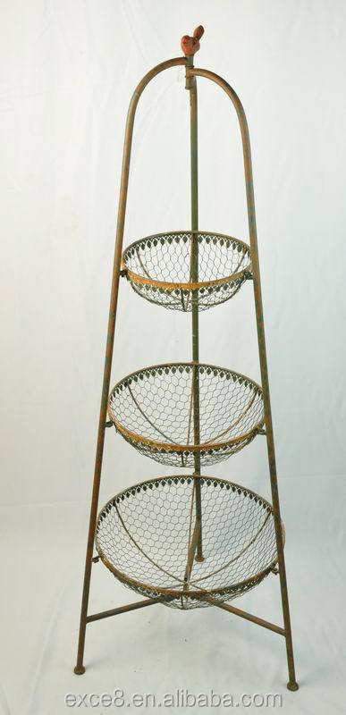 Rustic 3 Tier Floor Basket Stand Kitchen Metal Fruit Product On Alibaba