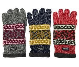 Men's Winter melange acrylic yarn jacqurard Warm Thinsulate Knitted Gloves