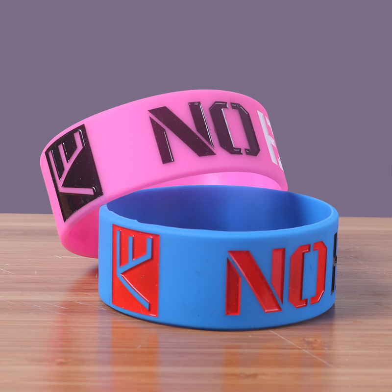 Custom 1 Inch Silicone Bracelets No Minimum Rubber Band Excuse Motivation Cancer Wristband