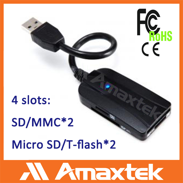 New multi-functional usb3.0 dual sd/ micro sd card reader