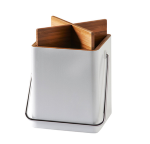 White Square Kitchen Utensil Holder Bamboo Utensils Holder Box for Cooking Utensils Storage