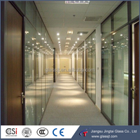 Customized clear toughened indoor glass office wall partition