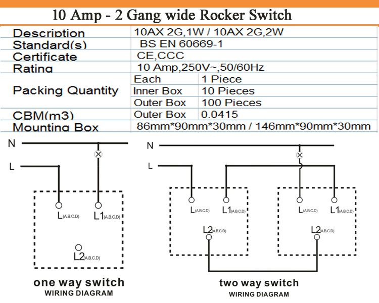 silver10am 2 gang 1 way 2 way rocker light switch electric wall switch 2  gang switch  buy light switch2 gang switchelectric wall switch product  on