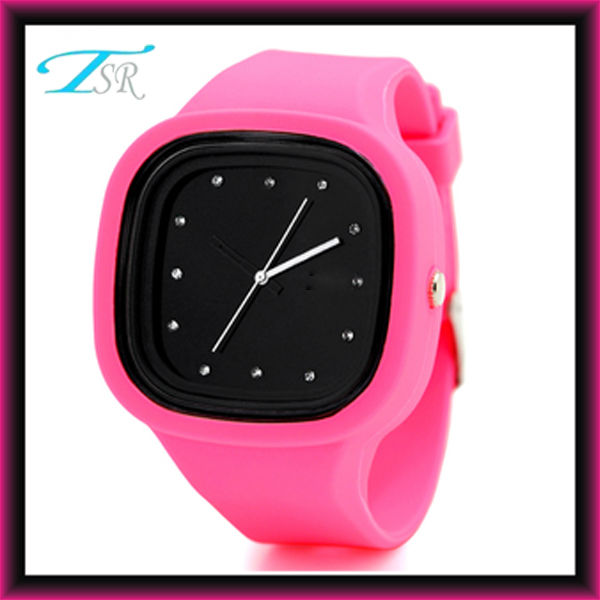 jelly silicone fashion colored girls watches own logo with interchangeable band and big face for teens Top selling