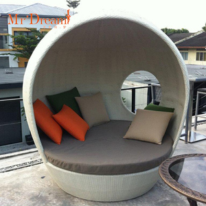 MR DREAM Hilton Hotel patio leisure furniture beach egg shape round outdoor rattan sofa bed