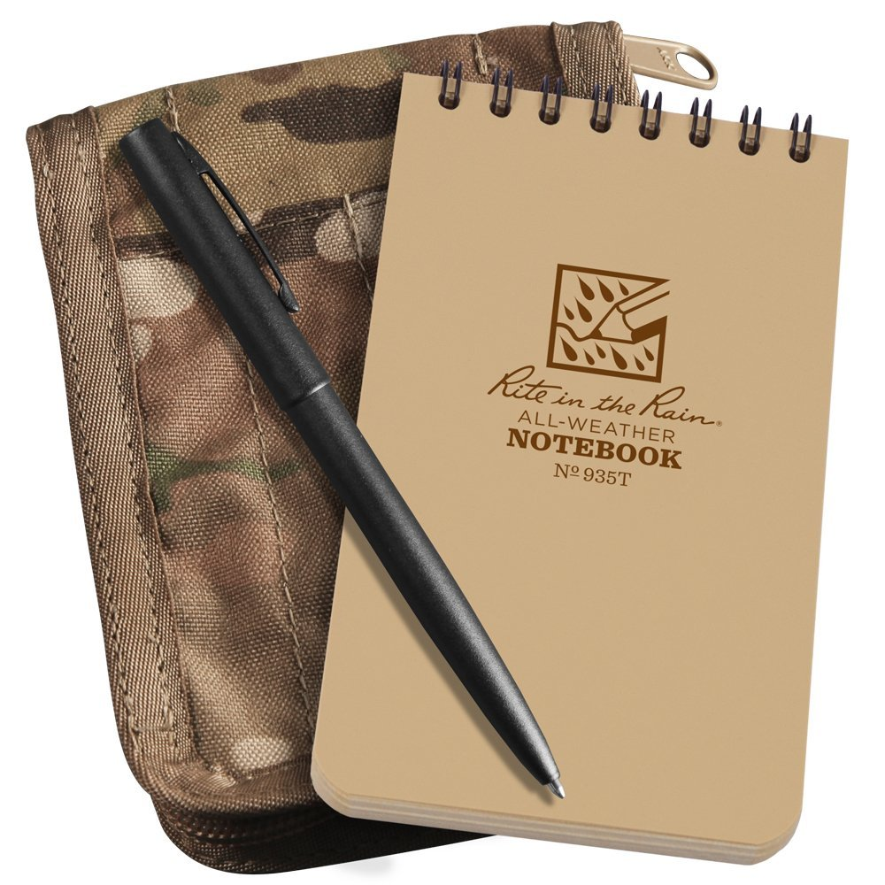 """Rite In The Rain All-Weather 3"""" x 5"""" Top-Spiral Notebook Kit: MultiCam CORDURA Fabric Cover, 3"""" x 5"""" Tan Notebook, and All-Weather Pen (No. 935M-KIT)"""