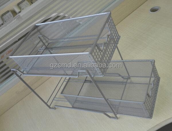 Kitchen 2 Tiers Metal Mesh Drawer Storage Cabinet, View Drawer ...