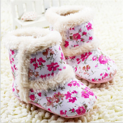2015 Fashion Winter Warm Flowers Baby Shoes Cotton Padded Baby Snow Boots Infant Toddler Girl s