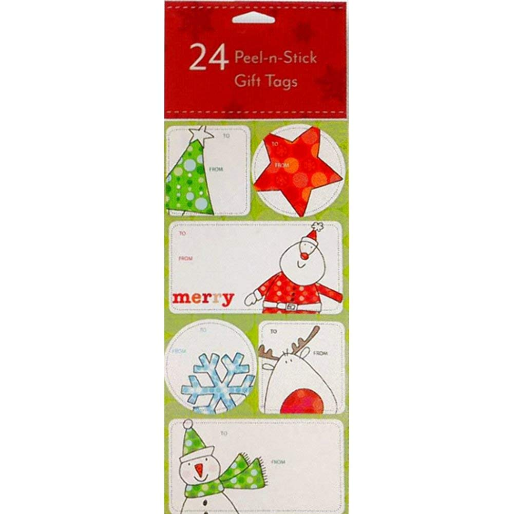 24 Assorted Peel-n-Stick Holiday Gift Tags (Trees, Stars, Snowflakes & Santa)