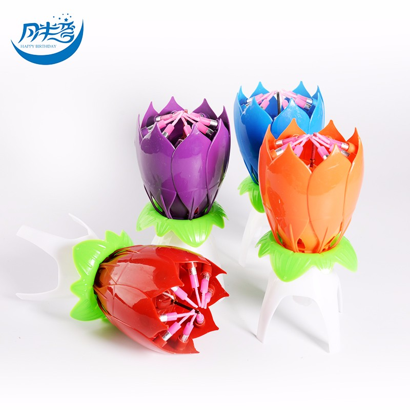 cake decoration Lotus shaped musical birthday candle