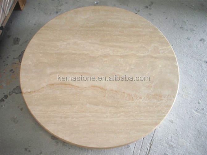 Round Beige Travertine Marble Stone Table Top