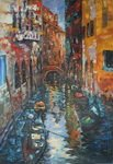 Knife venice street oil painting