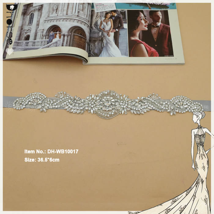 Vintage beaded crystal applique pearl shiny rhinestone bridal sash DHWB10017