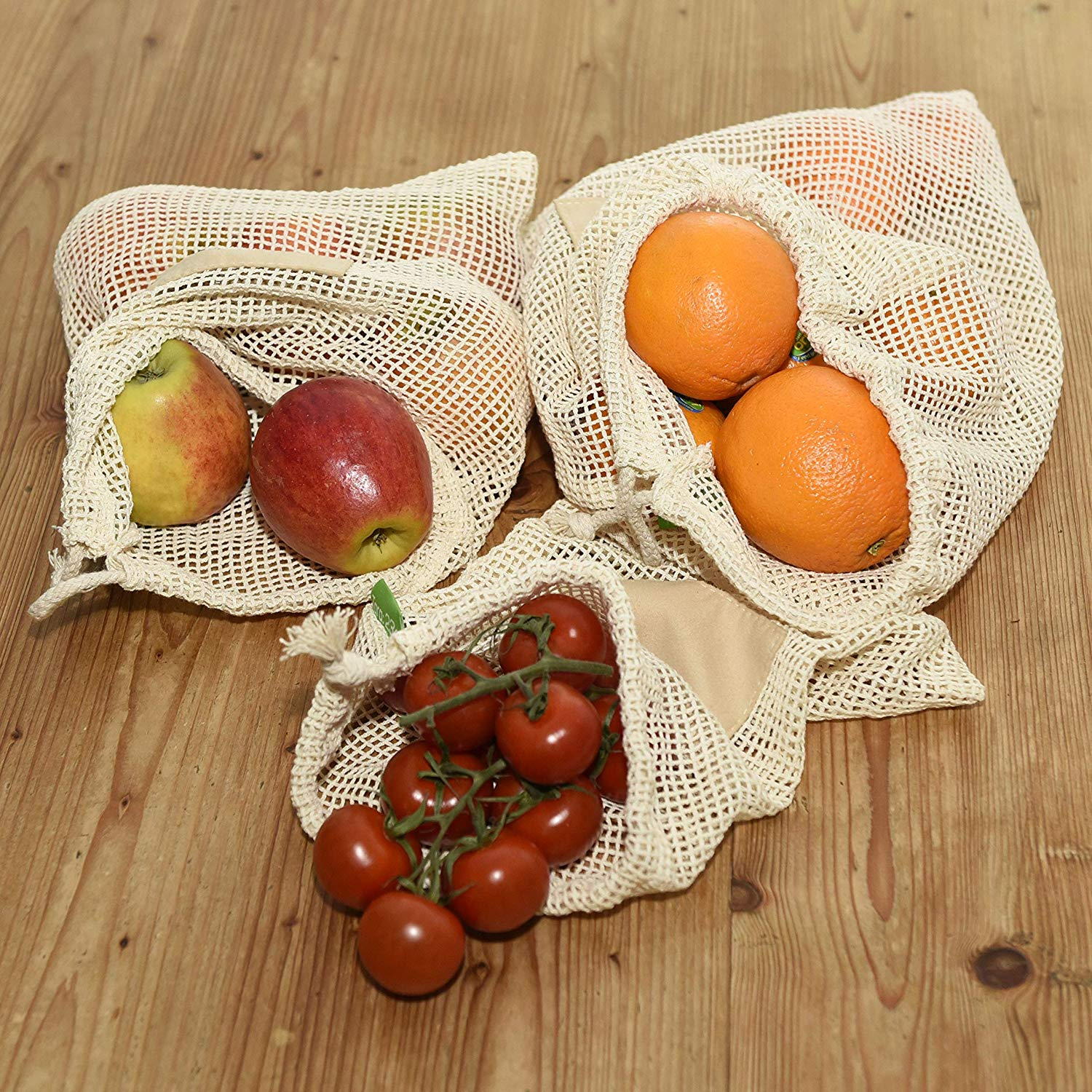 2019 Eco friendly Food Grade Reusable Grocery  Cotton Mesh Bag with 100% Organic Cotton for Vegetable Fruit