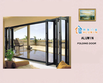 Heat Insulated Aluminum Wood Clad Folding Door With Kin Long Hardware