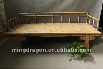 Chinese Antique Furniture Elm Wood Shanxi Nature Wood Color Bed