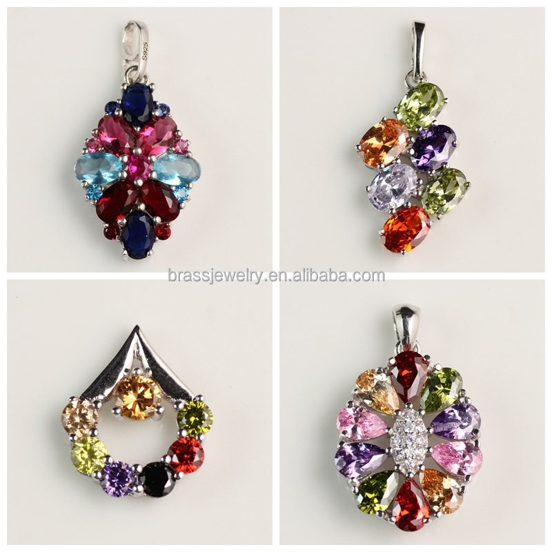 Wholesale Pretty Beautiful Rhodium Plated Colorful Indian Gemstone Pendant Designs