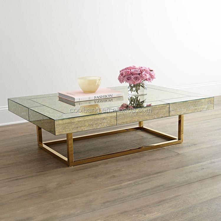 Vanity Design Egyptian White Quartz Coffee Table With Mental Legs