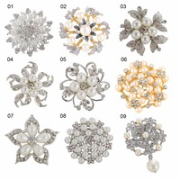 Vintage korean custom silver gold bridal rhinestone crystal pearl flower magnetic brooch pin for dress