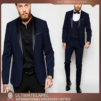 China Latest Design Fashion Blue Checks Men Wedding Coat Pant Suits