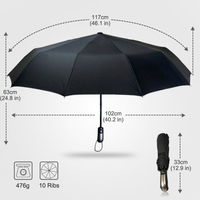 Automatic Travel Auto Open Close Compact Folding Windproof Strong and Sturdy Canopy Rain Umbrella