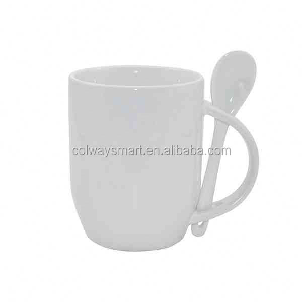 11oz Souvenir Custom Logo Print White Sublimation Ceramic Coffee Mug with Spoon
