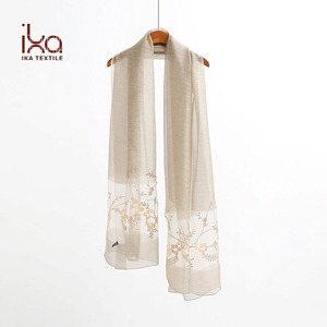 Extra Long Lady Fashion Embroidery 50% Silk 50% Wool Scarf Designs