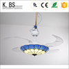 New Products European Style Blue And White Color Glass Remote Control 220V Lamp 42 Inch Remote Control Ceiling Fan Light